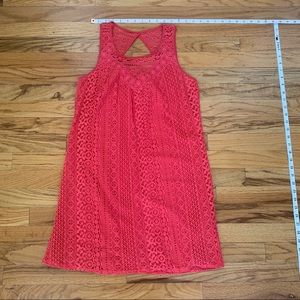 Lace overlay, pretty coral pink summer dress